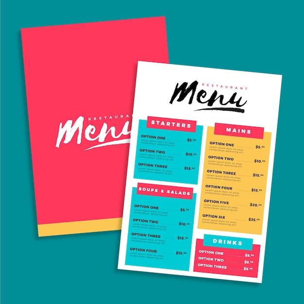 Drankjes en verschillende voedsel menusjabloon Gratis Vector