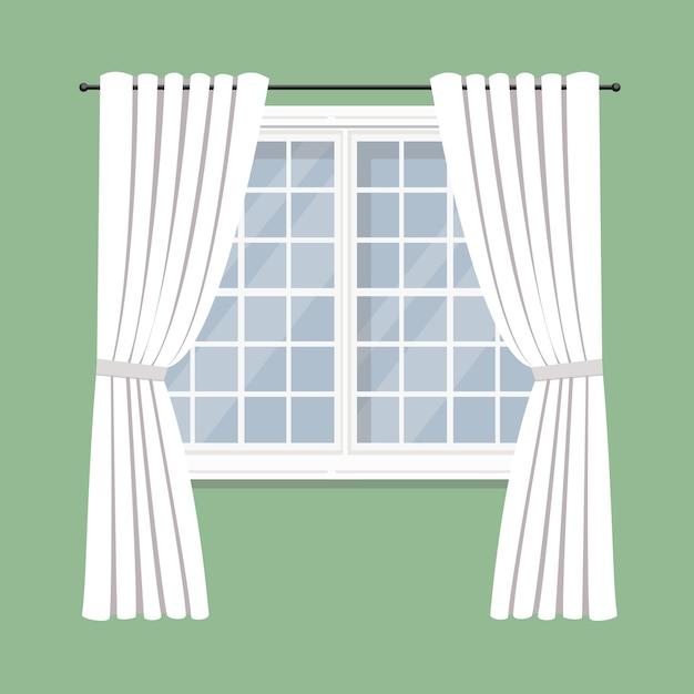 Draperie gordijnen op het raam | Vector | Premium Download