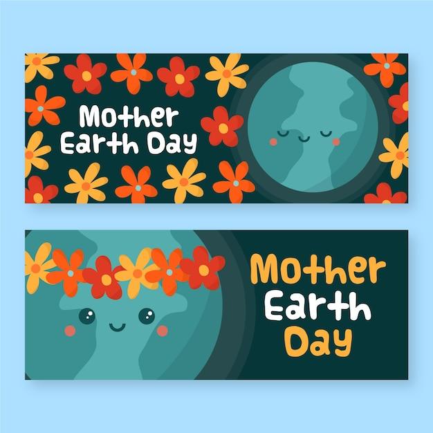 Drawign van moeder aarde dag banner collectie Gratis Vector