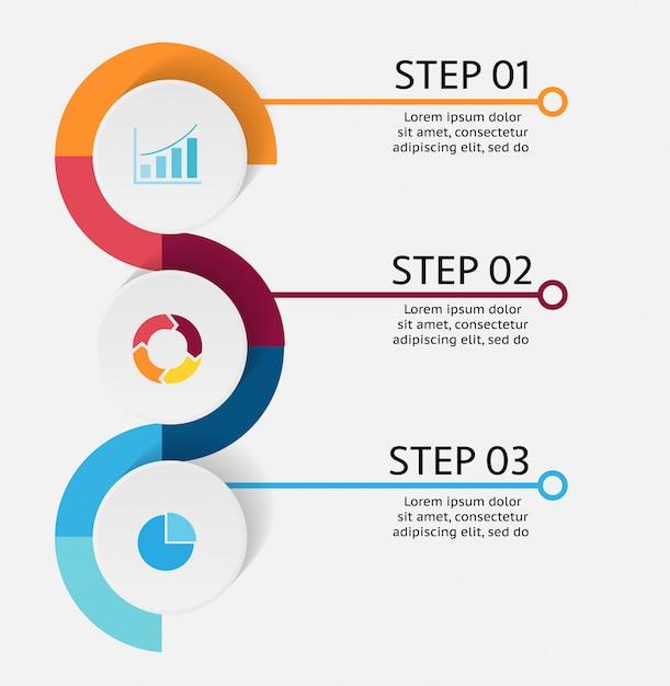 Drie 3 stappen van zaken infographic met exemplaarruimte Premium Vector