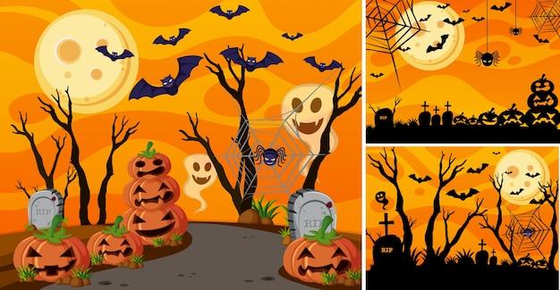 Drie achtergrond met halloween nacht en jack-o-lantaarns Premium Vector