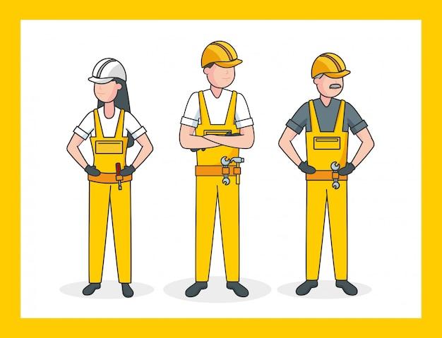 Drie arbeiders, illustratie Gratis Vector