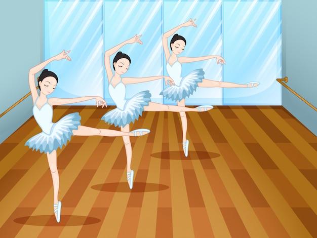 Drie balletdansers in de studio Premium Vector