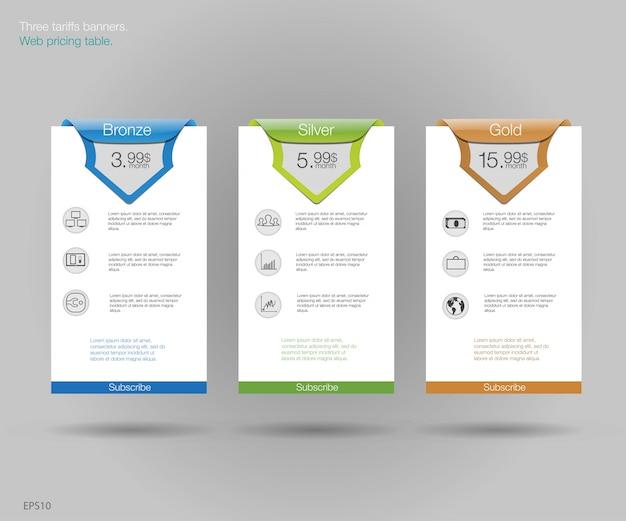Drie banner voor de tarieven en prijslijsten. webelementen. hosting plannen. voor web-app. plan voor website in flat. Premium Vector