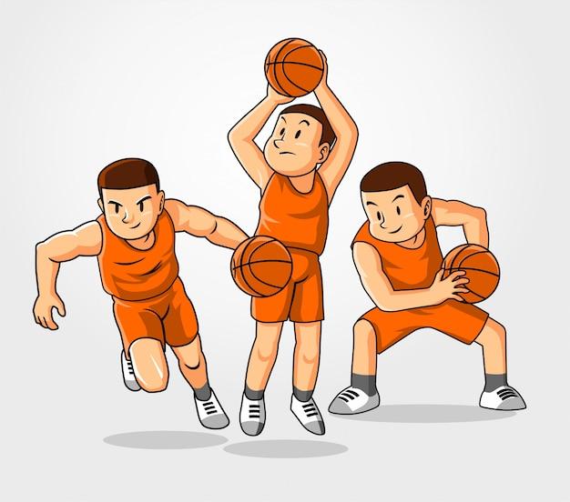 Drie basketbalstijl. Premium Vector