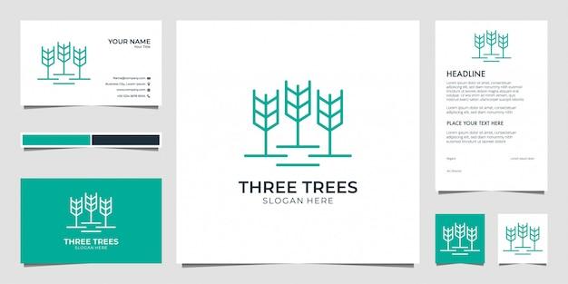 Drie bomen, blad, natuur met lijntekeningen logo ontwerp visitekaartje en briefhoofd Premium Vector