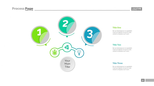 Drie cirkels workflow schuifsjabloon Gratis Vector