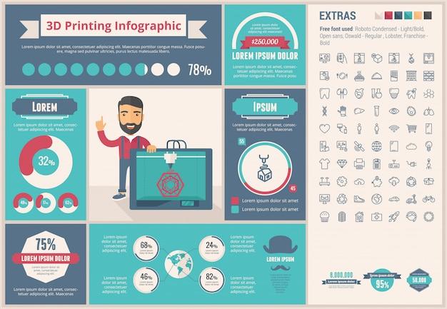 Drie d afdrukken platte ontwerpsjabloon infographic en pictogrammen instellen Premium Vector