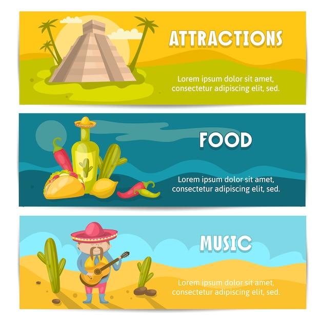 Drie gekleurde en geïsoleerde mexicaanse banner die met aantrekkelijkheidsvoedsel en muziekbeschrijvingen vectorillustratie wordt geplaatst Gratis Vector