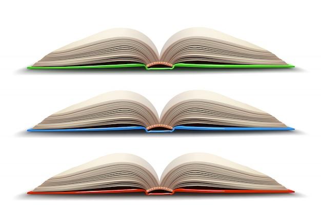Drie geopend boek Premium Vector