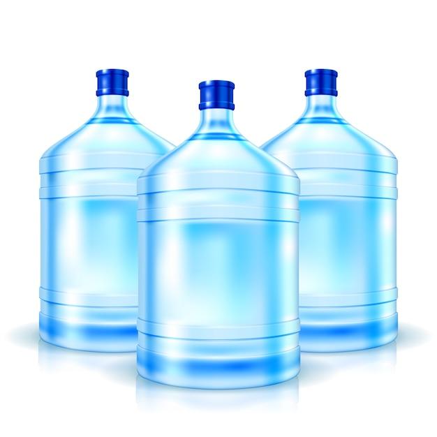 Drie grote flessen met schoon geïsoleerd water Gratis Vector