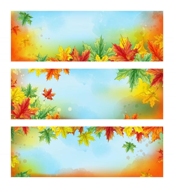 Drie horizontale herfst banners. herfst gekleurde gevallen esdoornbladeren Premium Vector