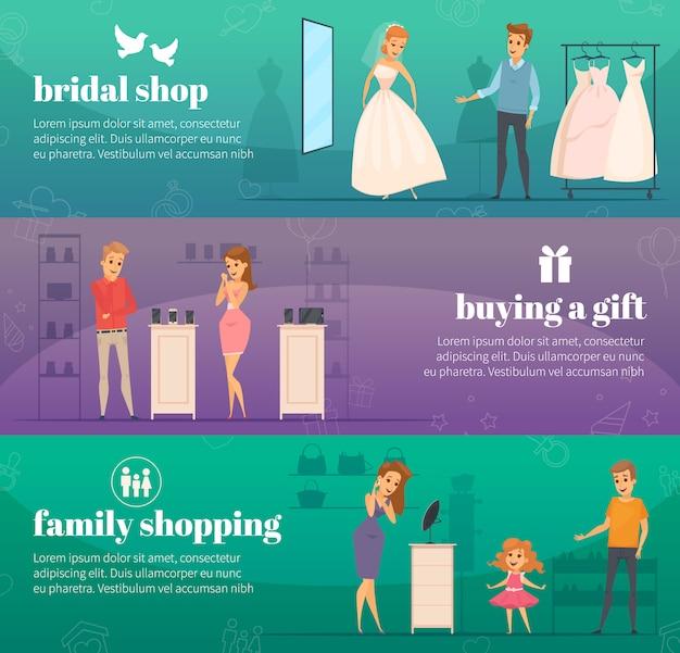 Drie horizontale het proberen winkel vlakke die mensenbanner met bruids winkel wordt geplaatst die een gift en familie het winkelen beschrijvingen kopen Gratis Vector