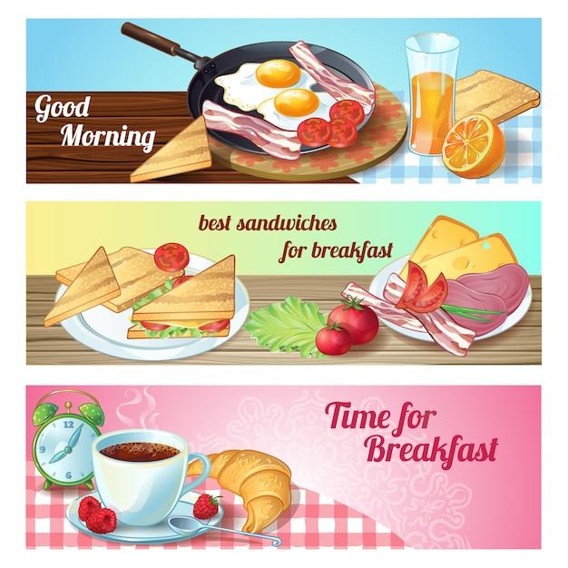 Drie horizontale ontbijtbanner met goedemorgentijd voor ontbijtbeschrijvingen Gratis Vector