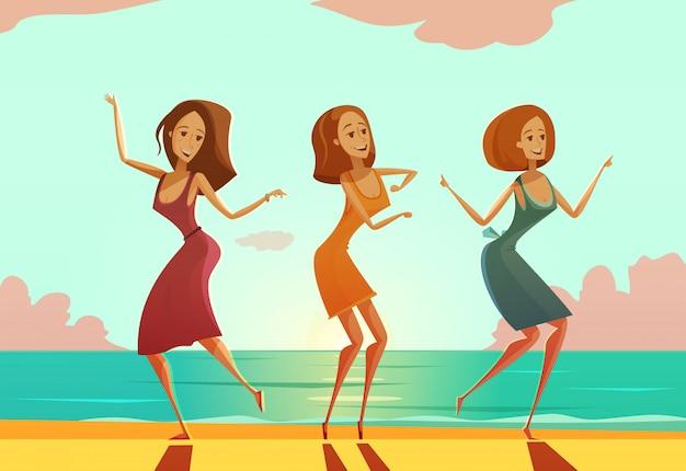 Drie jonge vrouwen die op zandstrand dansen Gratis Vector