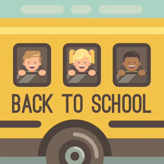 Drie kinderen kijken uit de ramen van een gele schoolbus, twee jongens en een meisje Premium Vector