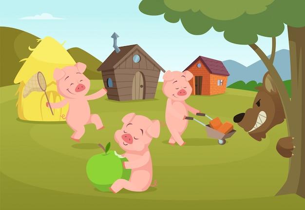Drie kleine varkens dichtbij hun kleine huizen en enge wolf. drie varkens en huis, sprookjesachtig verhaal. vector illustratie Premium Vector