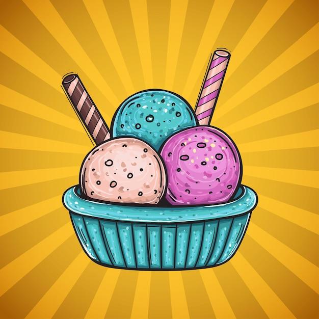 Drie kleuren ijsballetjes met verschillende smaken, met twee wafelrietjes. Premium Vector