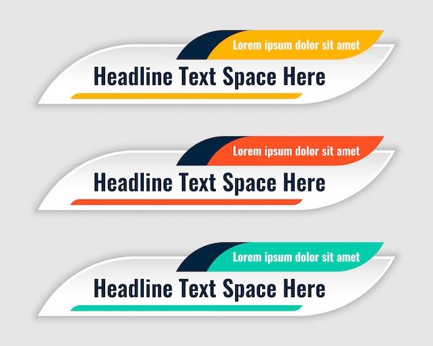 Drie kleuren lagere derde bannersmalplaatje Gratis Vector