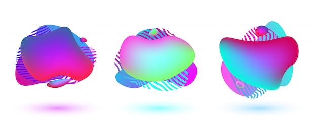 Drie kleurrijke abstracte vormen. vloeibare dynamische vormen met levendige kleuren Premium Vector