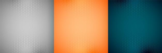 Drie leeg halftone achtergrond vastgesteld ontwerppatroon Gratis Vector