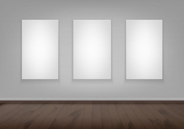 Drie lege lege witte mock up poster afbeeldingsframe op muur Premium Vector