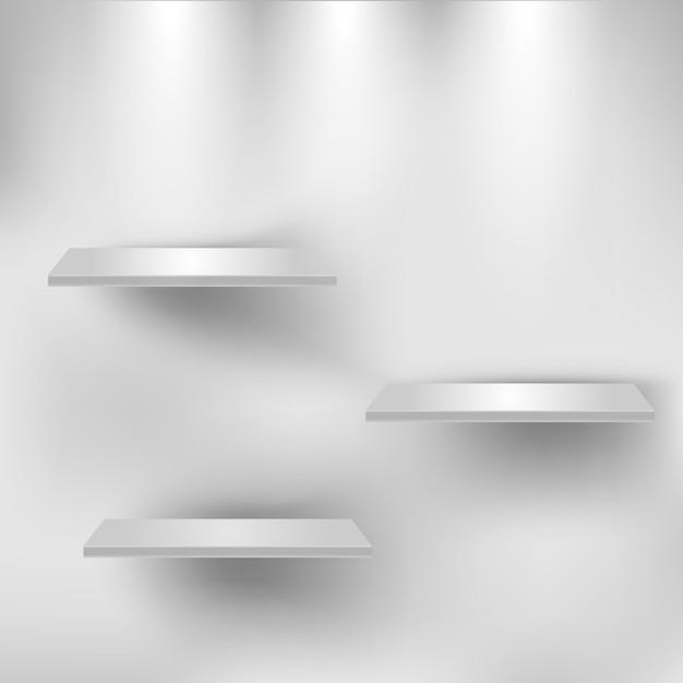 Drie lege witte planken Premium Vector