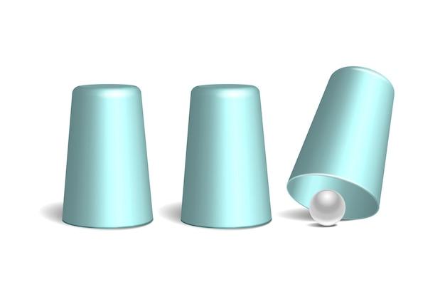 Drie lichtblauwe vingerhoedjes en witte bal Premium Vector