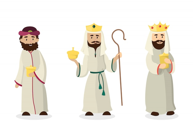 Drie magi-koningen. jezus christus verjaardag andistmas vooravond. Premium Vector
