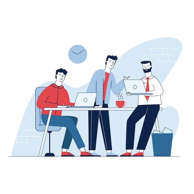 Drie man met zakelijke bijeenkomst in het kantoor Gratis Vector