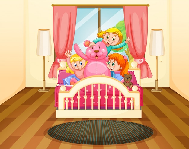 Drie meisjes in slaapkamer met roze teddybeer vector premium