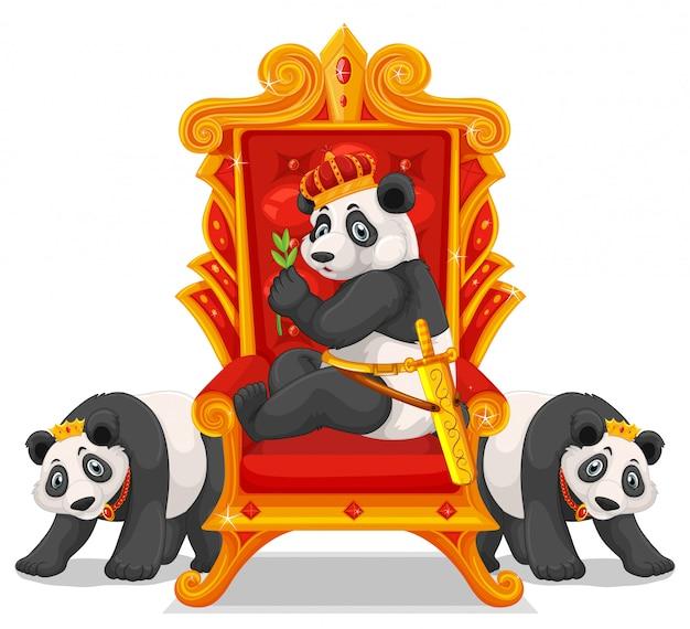 Drie panda's op de troon Gratis Vector