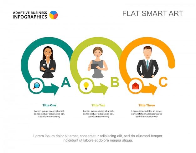 Drie partners verwerken grafieksjabloon voor presentatie Gratis Vector