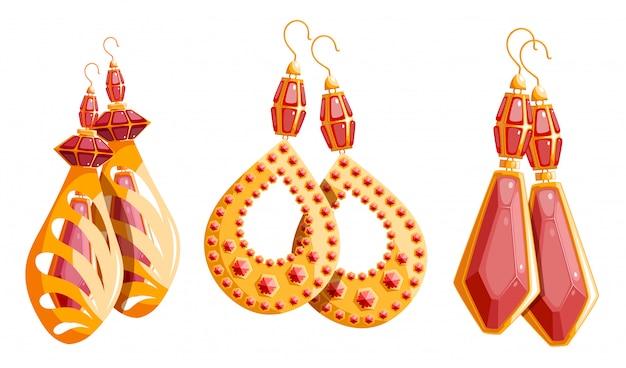 Drie prachtige gouden set vrouwelijke oorbellen Premium Vector
