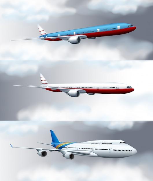Drie scèneachtergronden met jets die in hemel vliegen Gratis Vector