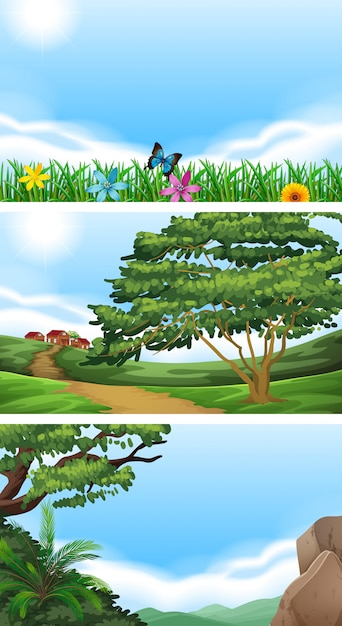 Drie scènes met veld en heuvels Gratis Vector