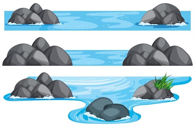 Drie scènes van rivier en meer Gratis Vector