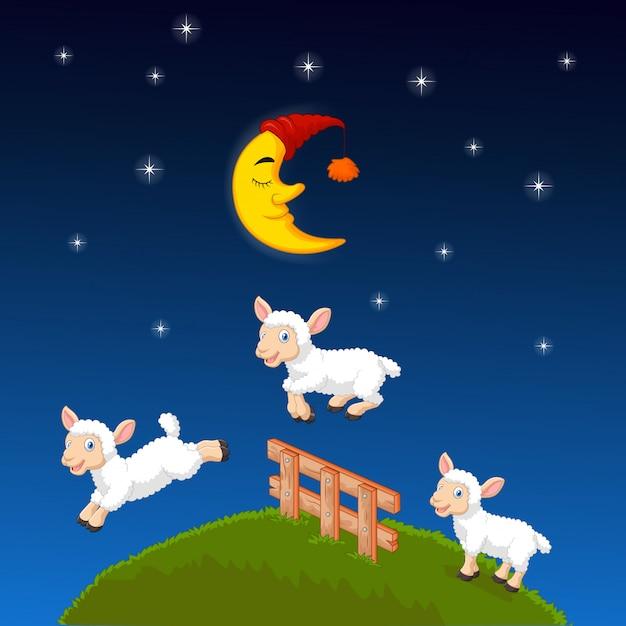 Drie schapen die over de omheining springen Premium Vector