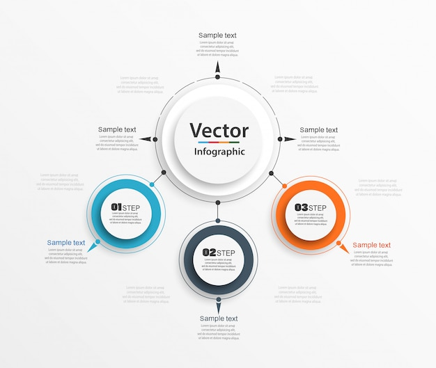 Drie stappen infographic met kleurrijke cirkels Premium Vector