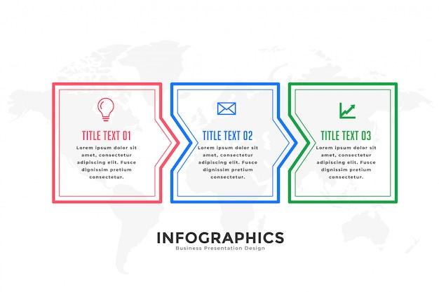 Drie stappen infographic sjabloon in lijnstijl Gratis Vector