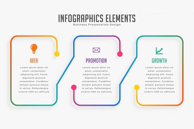 Drie stappen moderne infographic sjabloon Gratis Vector