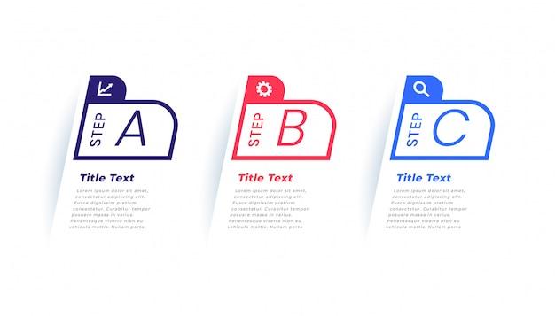 Drie stappen moderne zakelijke infographic sjabloon Gratis Vector