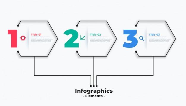 Drie stappen moderne zakelijke infographic sjabloonontwerp Gratis Vector