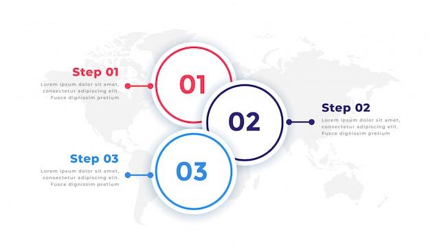 Drie stappen tijdlijn zakelijke infographic elementen Gratis Vector