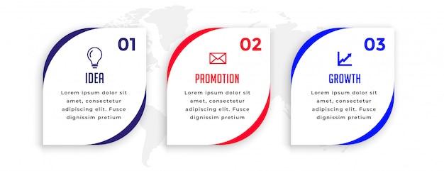 Drie stappen wijzen op het ontwerp van de infographic presentatiesjabloon Gratis Vector