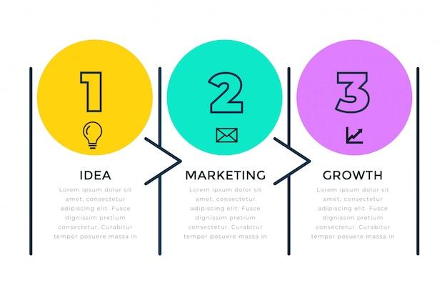 Drie stappen zakelijke infograph in lijnstijl Gratis Vector