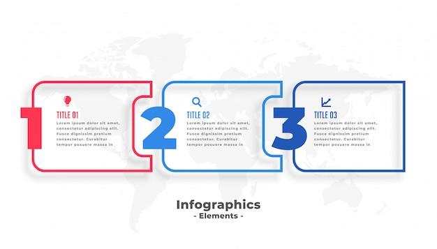 Drie stappen zakelijke infographics presentatiesjabloon Gratis Vector