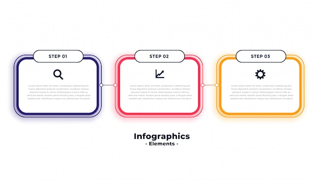 Drie stappen zakelijke infographics sjabloon Gratis Vector