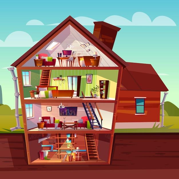 Drie verdiepingen tellende huisinterieur in dwarsdoorsnede met kelderverdieping, cartoon met meerdere verdiepingen privégebouw Gratis Vector