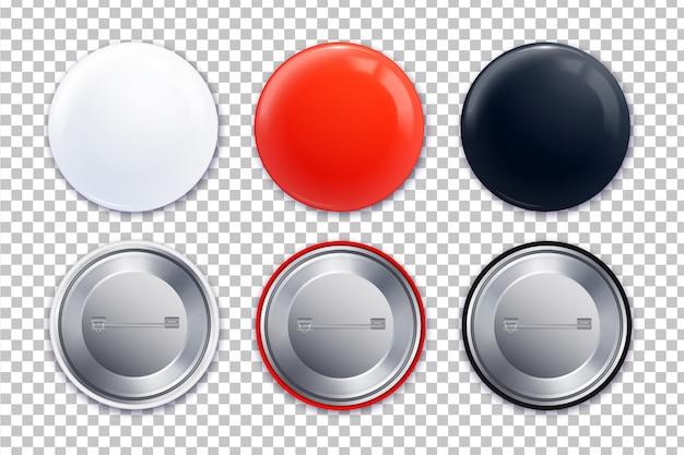 Drie verschillende badge transparante pictogrammenset in realistische stijl en rode witte zwarte kleurenillustratie Gratis Vector